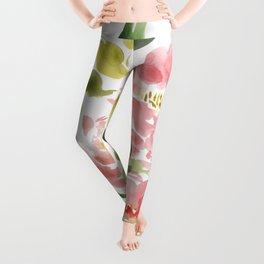 Dreamy Peony -  watercolor painting Leggings