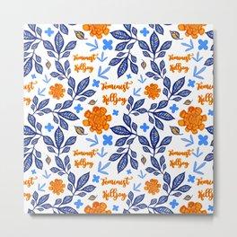Blue and Orange Floral Feminist Killjoy Print Metal Print