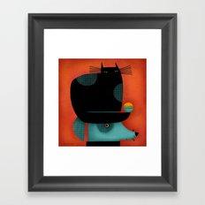BLACK CAT ON HEAD Framed Art Print
