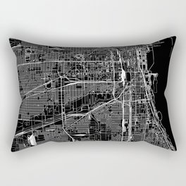 Chicago Black Map Rectangular Pillow