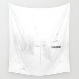 Ski Lift  // Black and White Snowy Climb Whiteout Foggy Minimal Epic Indie Alpine Photograph Wall Tapestry