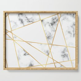 Stone Effects White and Gray Marble with Gold Accents Serving Tray
