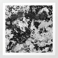 Marble Black & White Art Print