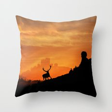Deer in a mystical landscape Throw Pillow