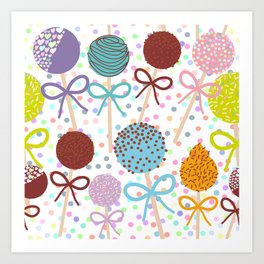 seamless pattern Colorful Sweet Cake pops set with bow on white polka dot background Art Print
