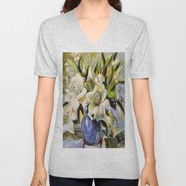 White lilies Unisex V-Neck