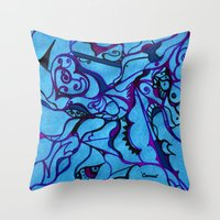 carousel Throw Pillows featuring Carousel by Art by Mel