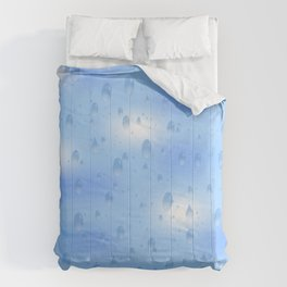Water dops with sky background Comforters