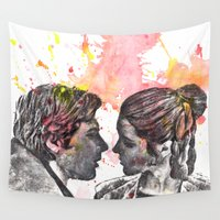 han solo Wall Tapestries featuring Han Solo and Princess Leia from Star Wars by idillard