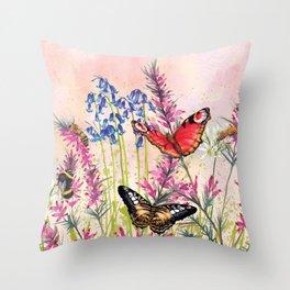 Wild meadow butterflies Throw Pillow