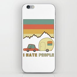 I Hate People Humans Holiday Sloth Camper Camping Design iPhone Skin