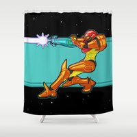 samus Shower Curtains featuring Samus Aran by Arnix