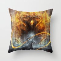 lotr Throw Pillows featuring 'You shall not pass' by jasric