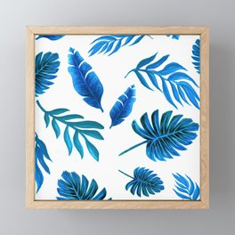 Blue Palm leaf watercolor art Framed Mini Art Print