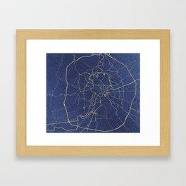 Rome Blue and Gold Street Map Framed Art Print