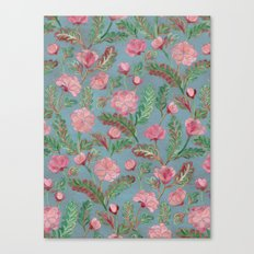 Soft Smudgy Pink and Green Floral Pattern Canvas Print