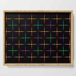 Neon diamonds. Pattern or background of multicolored neon stars on a black background Serving Tray