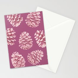Blushing Deep Pine Cones Stationery Cards
