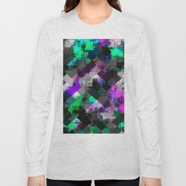 psychedelic square pixel pattern abstract background in green pink blue Long Sleeve T-shirt