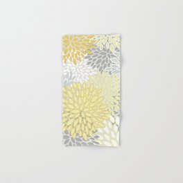 Floral Prints, Soft, Yellow and Gray, Modern Print Art Hand & Bath Towel