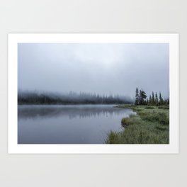 Foggy Morning at Reflection Lake Art Print