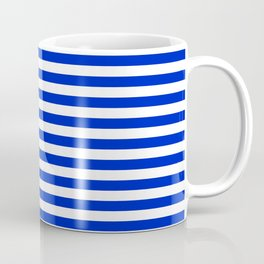 Cobalt Blue and White Thin Horizontal Deck Chair Stripe Coffee Mug