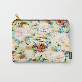Glitch vintage tropical floral fruit Carry-All Pouch