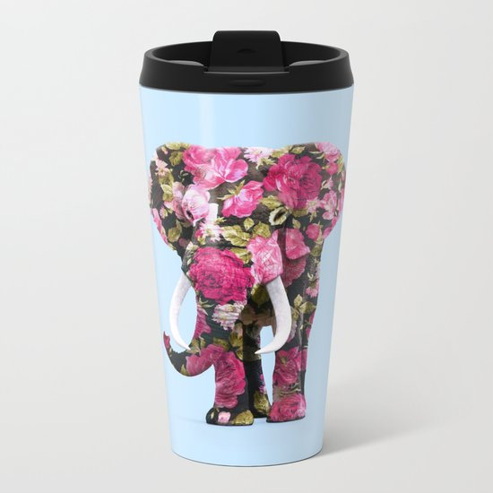 FLORAL ELPHANT Metal Travel Mug