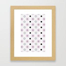 Retro Spin Polka Square-Pink Framed Art Print