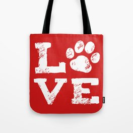 Love with Dog Paw Print Tote Bag