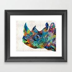 Rhino Rhinoceros Art - Looking Up - By Sharon Cummings Framed Art Print