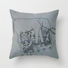 elephant skribb Throw Pillow