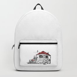 Black Red White Sketch Backpack