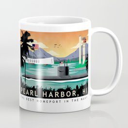 Pearl Harbor, HI - Retro Submarine Travel Poster Coffee Mug