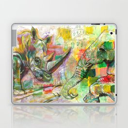 Rhinoceros Love and Friendly Observer Together! Laptop & iPad Skin