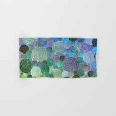 Abstract blue& green glamour glitter circles and polka dots for ladies Hand & Bath Towel