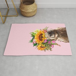 Sunfowers crown Highland Cow in Pink Rug