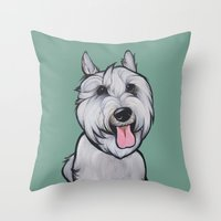 levi Throw Pillows featuring Levi the Miniature Schnauzer by Pawblo Picasso