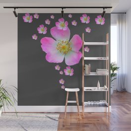 WILD PINK ROSE CASCADE ON CHARCOAL GREY Wall Mural