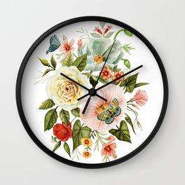 Wildflowers and Butterflies Bouquet  Wall Clock