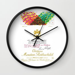 Vintage 1979 Chateau Rothschild Wine Bottle Label Print Wall Clock