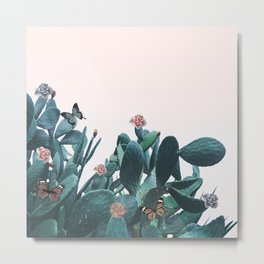 Cactus & Flowers - Follow your butterflies Metal Print