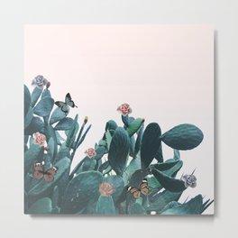 Cactus & Flowers - Follow your butterflies Metal Print