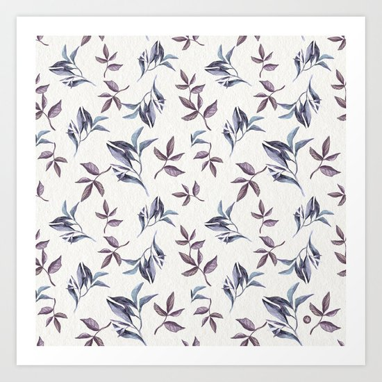 Watercolor cold leaves pattern Art Print
