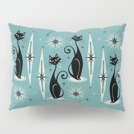 Mid Century Meow Retro Atomic Cats on Blue Pillow Sham