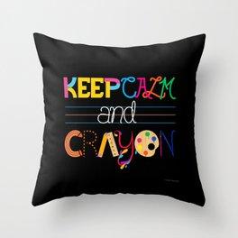 Keep Calm and Crayon Throw Pillow