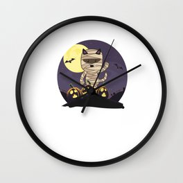 Mummy Cat Halloween Wall Clock
