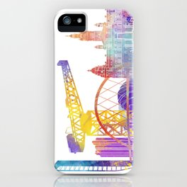 Glasgow landmarks watercolor poster iPhone Case