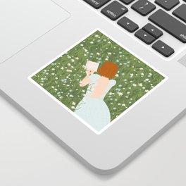 Reading in a Meadow  Sticker