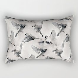 Sparrow Flight - monochrome Rectangular Pillow